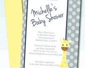 Giraffe Baby Shower Invitation for Baby Boy - Blue and Grey Dots -  - DIY Printable