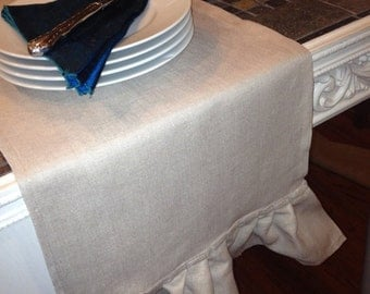Pure Linen Ruffled Farm Table Runner - 12 inches by 72 inches