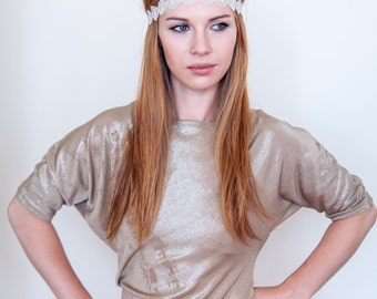 Christmas Silver Scalloped Fabric Hippie Headband - Great for weddings, Festivals, Great Gatsby 20s Party