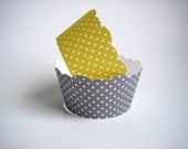24 Yellow and Grey Polka Dot Cupcake Wrappers - Shabby Chic, Rustic, Bridal Shower, Birthday, Wedding, Baby Shower
