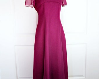 Vintage 80s party dress/ marsala red gown/ chiffon overlay/ empire waist/ evening formal gown/ party dress/ prom/ wedding/ burgundy garnet