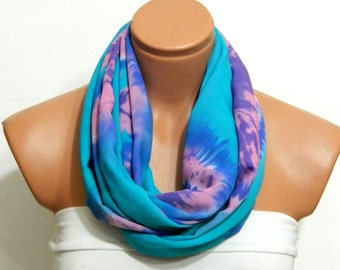 neon blue infinity scarf,hand painting patter,Nomad fabric scarf,turquoise and  Pink scarf,Loop Scarf,Circle Scarf,.Ultra soft..
