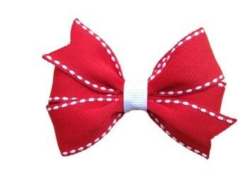 Red & white hair bow - hair bows, girls bows, girls hair bows, baby hair bows, red hair bow, red bow, toddler hair bows, baby bows, bows