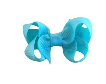 Small aqua hair bow - aqua bows, small bows, baby bows, toddler bows, girls bows