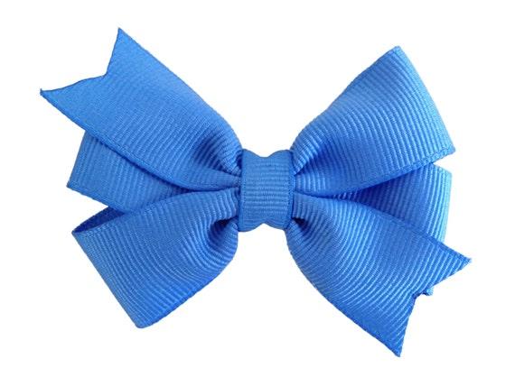 3 inch carolina blue hair bow - blue bow, pinwheel bow, girls hair bows, blue hair bows, toddler bows, baby bows, girls bows