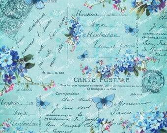 Blue Collage Sheet - Vintage Flowers - Scrapbooking - Printables Images - Scrapbook - Download - 1625