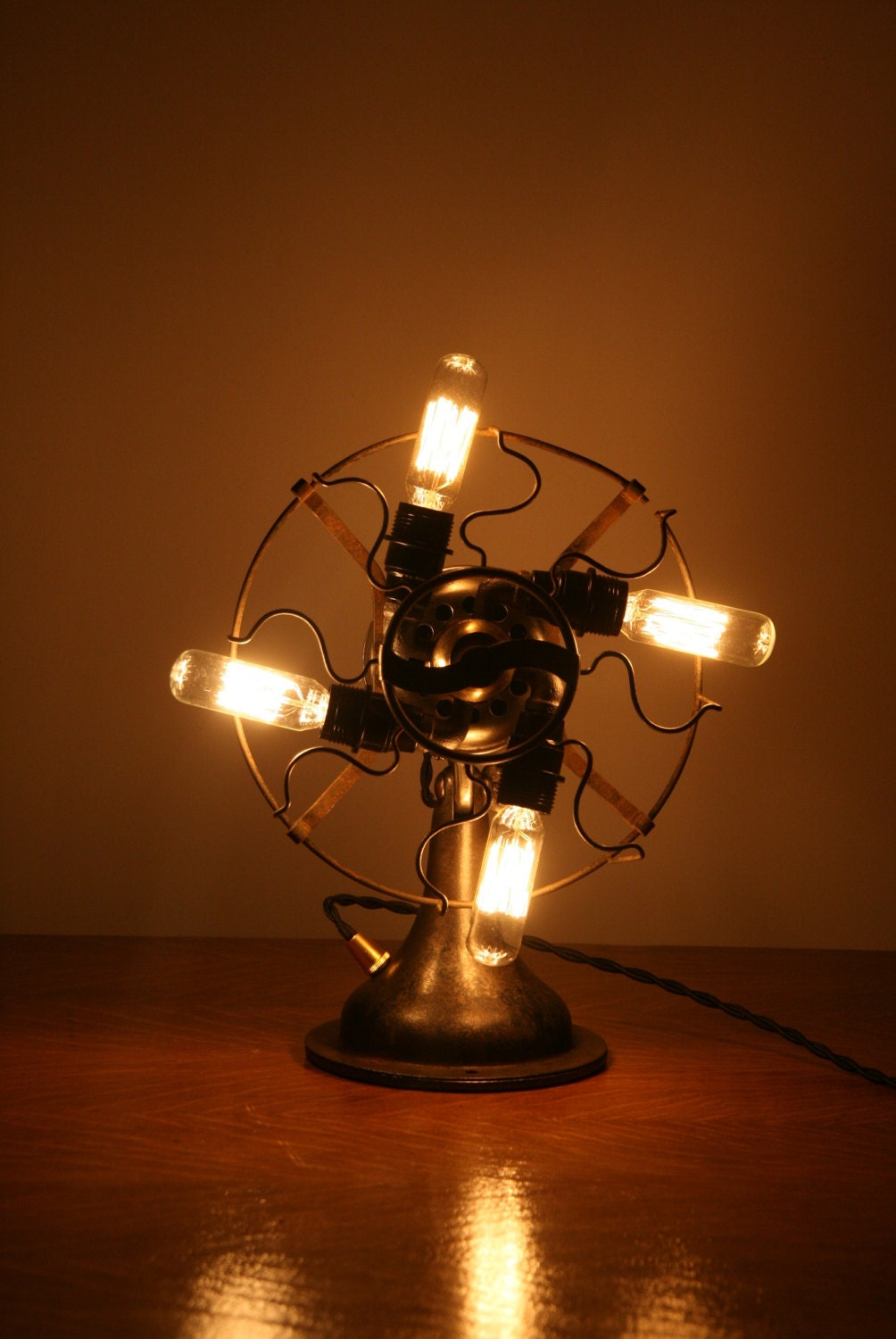 Industrial Steampunk Desk Lamp Fan Light By Industrialrewind