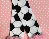 Soccer Ball Print Leg Warmers with Your Choice of Ruffle Color, Pink, Red, Green, Purple, Black, White, ect... Infant - Preteen, Arm Warmers