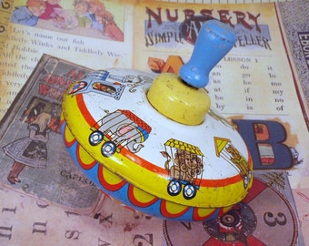 LAST CHANCE Ohio Art Colorful Circus Tin Top Toy Metal Spinning Mechanical Kids Top Toy
