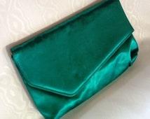 1950s Vintage Turquoise Blue Clutch, Purse, Handbag
