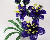 Coblat Blue Lilies, French Beaded Lily Flowers Bouquet