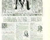 1922 Letter M Vintage Calligraphy Vintage Initial M Initial Letter M Vintage ABC Alphabet Classroom decor Monogram initial M Door decor