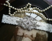 SALE-Wedding Garter - Ivory Lace Garter - Rhinestone Garter - Applique Garter - Vintage - Bridal Garter - Vintage Garter - Toss Garter