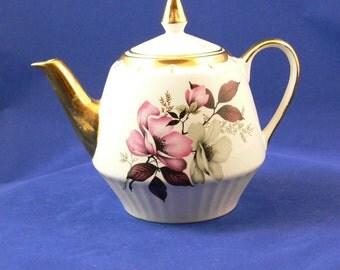 Tea Pot - Gibsons - Staffordshire England - 22K Gold Trim - Flowers -  Signed - FS-328