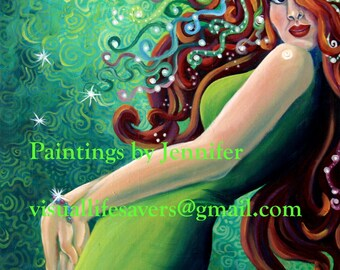 A Lady of Sparkle and Intrigue - Print, redhead, ginger, woman, beautiful, sensual