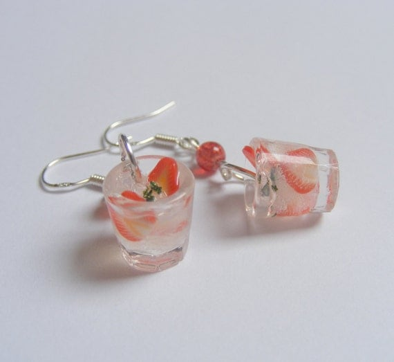 Food Jewelry Strawberry Cocktail Earrings Cocktail Jewelry