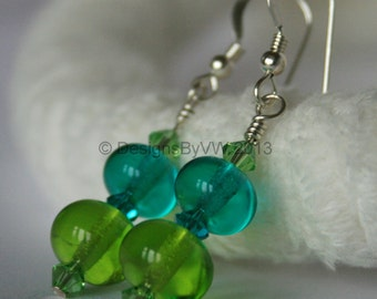 Green and Teal Lampwork Glass and Swarovski Crystal Earrings