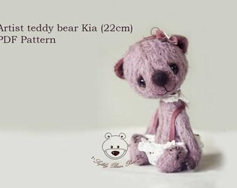 Artist Teddy Bear Pattern by SoftlyBearPaw Kia 22cm ePattern PDF