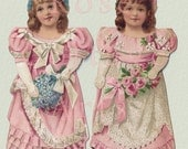 "Digital Download Antique Die Cut 'Bridesmaids' Wedding Paper Dolls Victorian Scrap Graphic Image ""The Bridesmaid"""