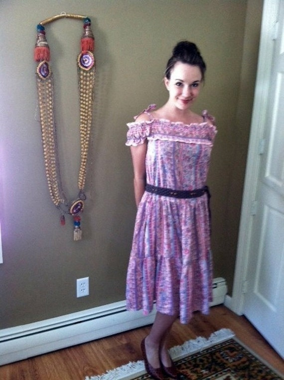 Vintage Hippie Gypsy Bohemian Pink Floral Sundress