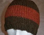 Beanie Hand Knit Men's Ski Hat Winter Snowboard Stocking Cap Wide Stripe Wool Brown Orange XL