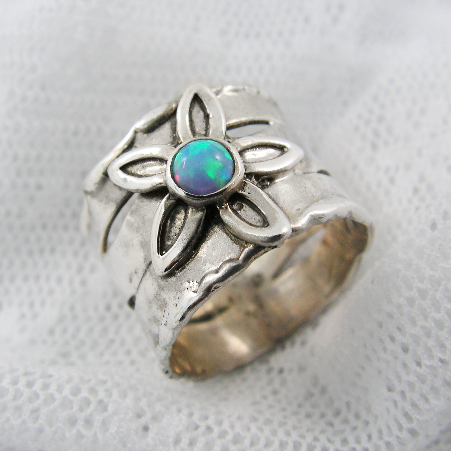 floral opal silver ring sterling silver opal ring silver
