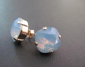 Blue Opal Swarovski Crystal Studs/ Bridesmaid Jewelry/ Sqare crystal Earrings / Crystal Earrings/ Crystal Cushion Stones