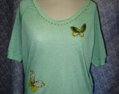 Lime Butterfly Tee, size Large