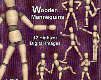 Wooden Mannequin 12 High Rez Printable Digital Clip Art Images of a Wood Artists Figure Dummy For Your Crafting Projects Mannequin Clip Art