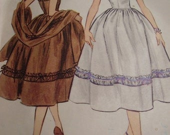 Vintage 1950's McCall's 3098 Dress and Stole Sewing Pattern, Size 16, Bust 34
