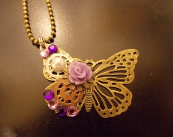 CLEARANCE!!! Steampunk Butterfly Clockwork Necklace