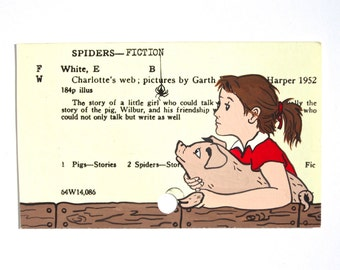 Charlotte's Web by E.B. White - Print of Charlotte the spider, Wilbur the pig and Fern the girl painted on library card