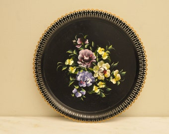 Vintage Handpainted Floral Tole Serving Tray Black Yellow Purple
