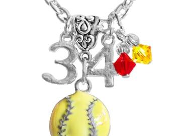 Personalized, Softball Necklace, Team Color,Jersey Number, Charm Necklace,Mom Necklace,Softball Gift, Team Mom,Softball Mom, (Made to Order)