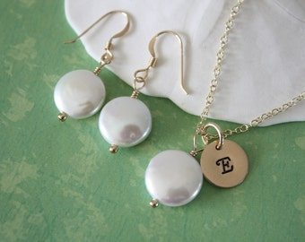 Personalized Bridesmaid Gift, Necklace and Earrings Set, Gold Necklace, Initial Charm, White Pearl, Coin Pearl, Bridesmaid Necklace
