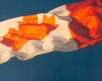 """Canada Flag Image Transfer on 16""""x48"""" Wood Panel by Patrick Lajoie - limited edition, fine art photo"""