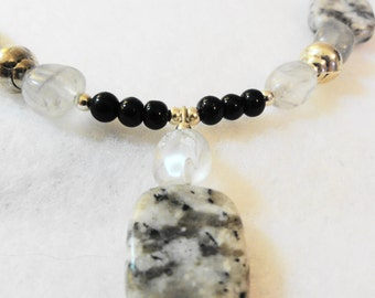 Grey and Black Speckled Stone Necklace Set