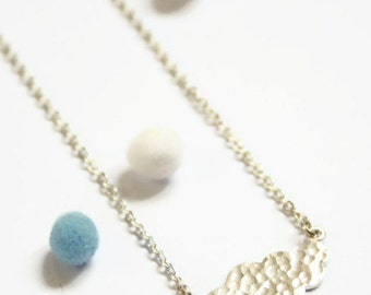 Cloud necklace - sterling silver hammered