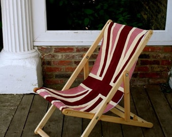 Pink Union Jack Flag Deck Chair Recliner Folding Timber Frame Bye Brytshi