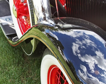 Classic Car Reflections off the Fender - Color Photograph
