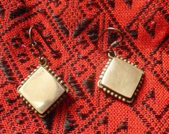 Silver Ethnic Rhombus Earrings. South India Ethnic Jewelry