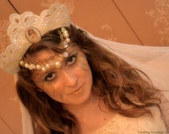 Vintage headdress Art Nouveau Bride Bridal wedding antique cabachon headpiece crown tiara head chain veil