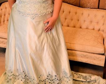 Mint green lace sweetheart bodice Satin,Plus size,Wedding dress, wedding gown dress train 20/22