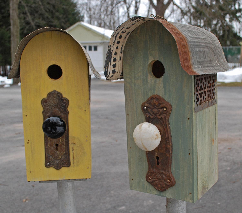 Antique porcelin door knob birdhouses