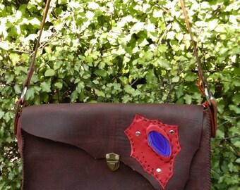 SALE SALE SALE!!!!!!  Leather Handbag with Agate Slice / Crystal Decoration... iPad, Notebook, Tablet, Shoulder bag, Travel bag,