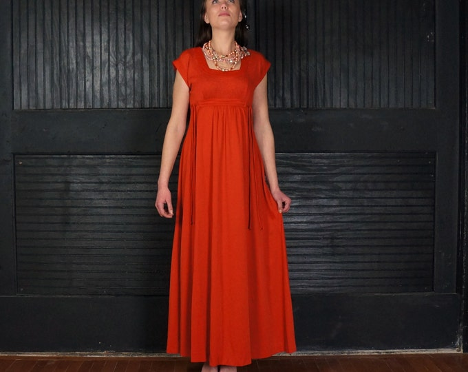 Vermillion Laces 1970 Vintage Bohemian Maxi Dress SMALL Short Sleeve Empire Waist Formal to Casual UT Burnt Orange Retro 70s