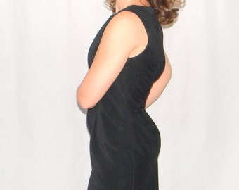 Vintage Little Black Dress Cutout Hem. Size 8. Medium. 80s LBD Sheath Dress. Cocktail Dress. Party Dress.