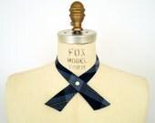 Rockabilly Western Bow Tie / blue plaid pattern continental tie / adjustable strap, pearl snap