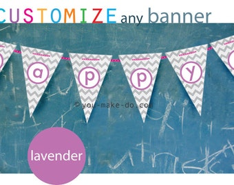 lavender party banner custom lavender baby shower banner girl customized birthday banner purple girl birthday printables girl baby garland