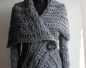 Wrap sweater,Gray sweater,  brown sweater,   handmade sweaters, cardigan,   sweater for all sizes